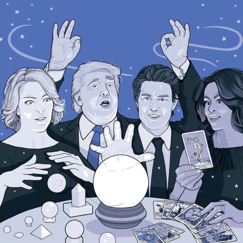Illustration of Michelle Obama, Tom Cruise, Donald Trump and Megyn Kelly