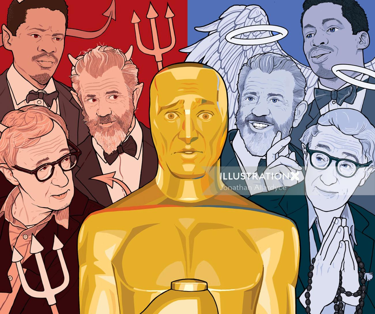 Controversial Oscar nominations illustration