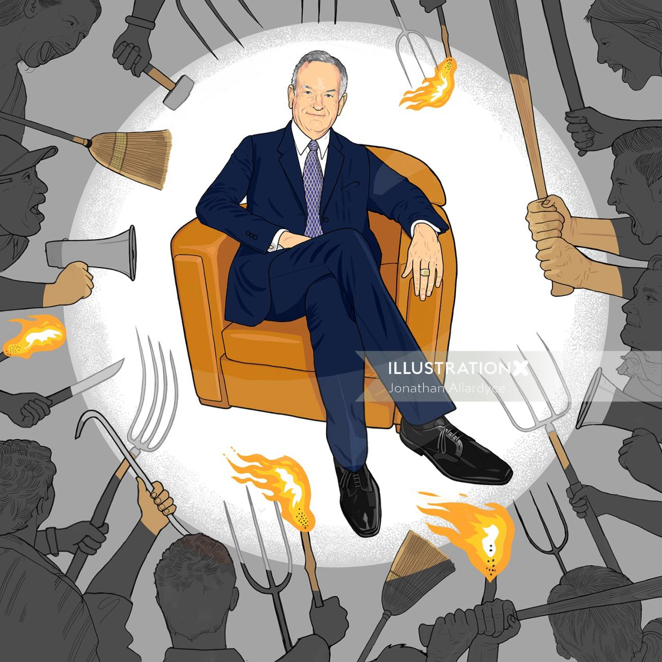 Portrait Illustration of Bill O'Reilly