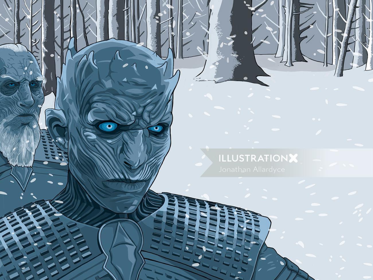 Illustration of White walkers monster