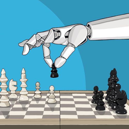 Line illustration of Chess-playing robot
