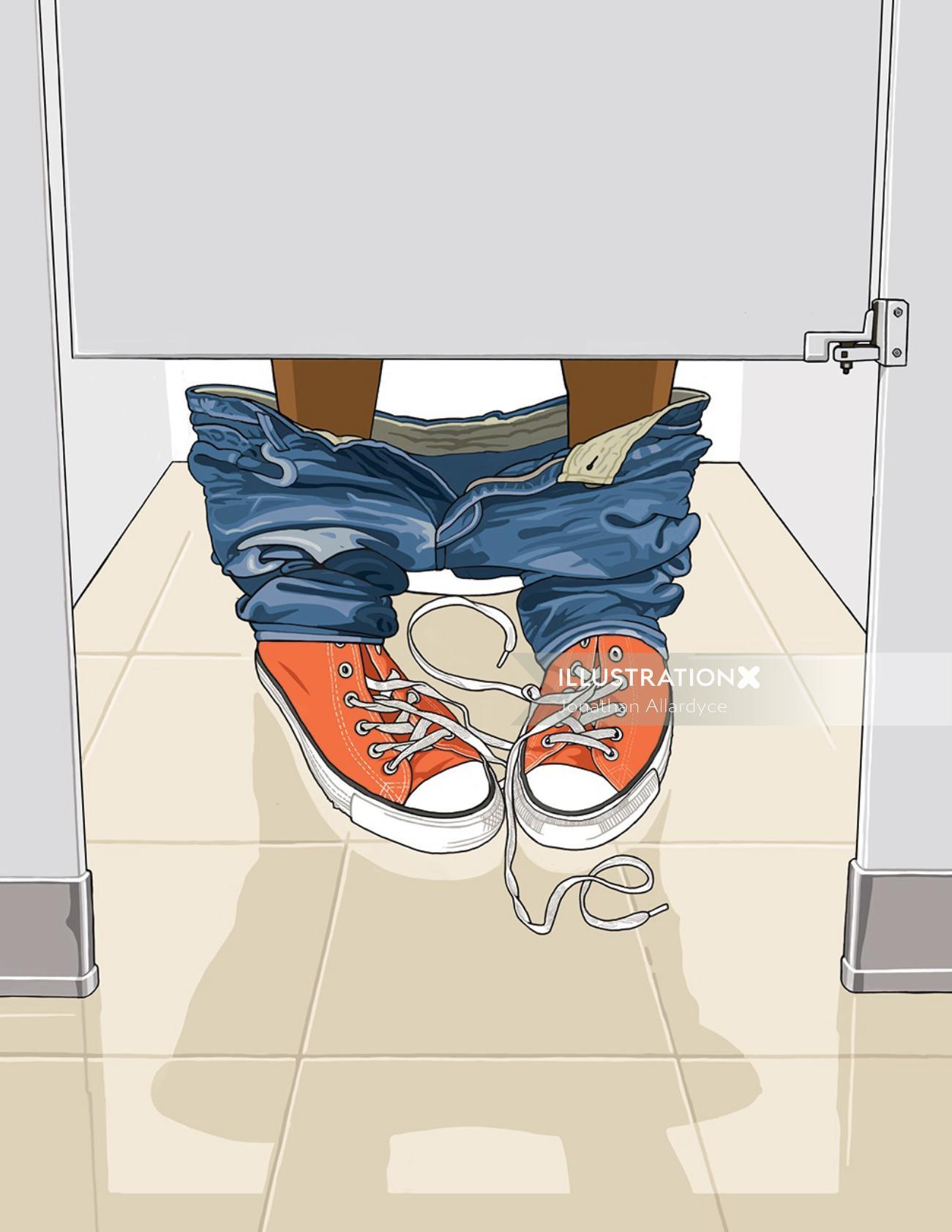 contemporary illustration of public bathroom
