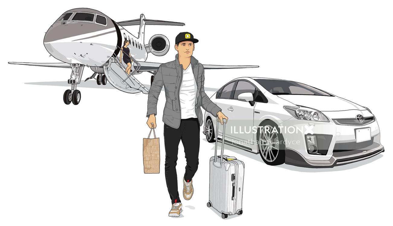 Businessman walking away from the flight