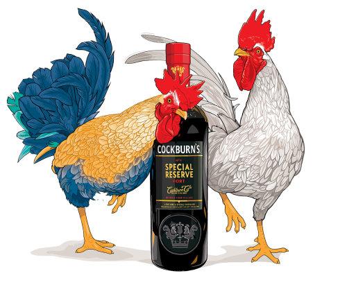 带酒瓶的动物公鸡