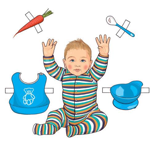 婴儿与配件的图形