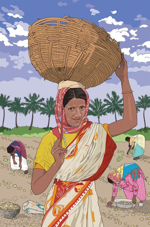 一位在田间工作的印度女士的服装