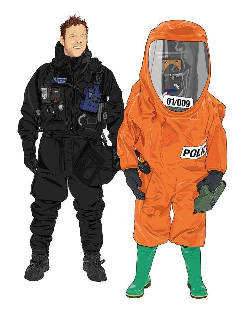 展示潜水员和 CBRN 官员的服装