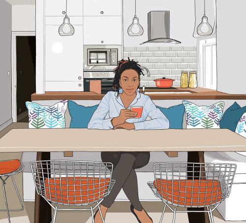 女孩坐在厨房的电脑动画