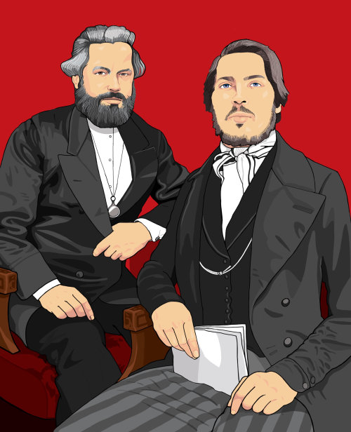 计算机生成的马克思和恩格斯肖像