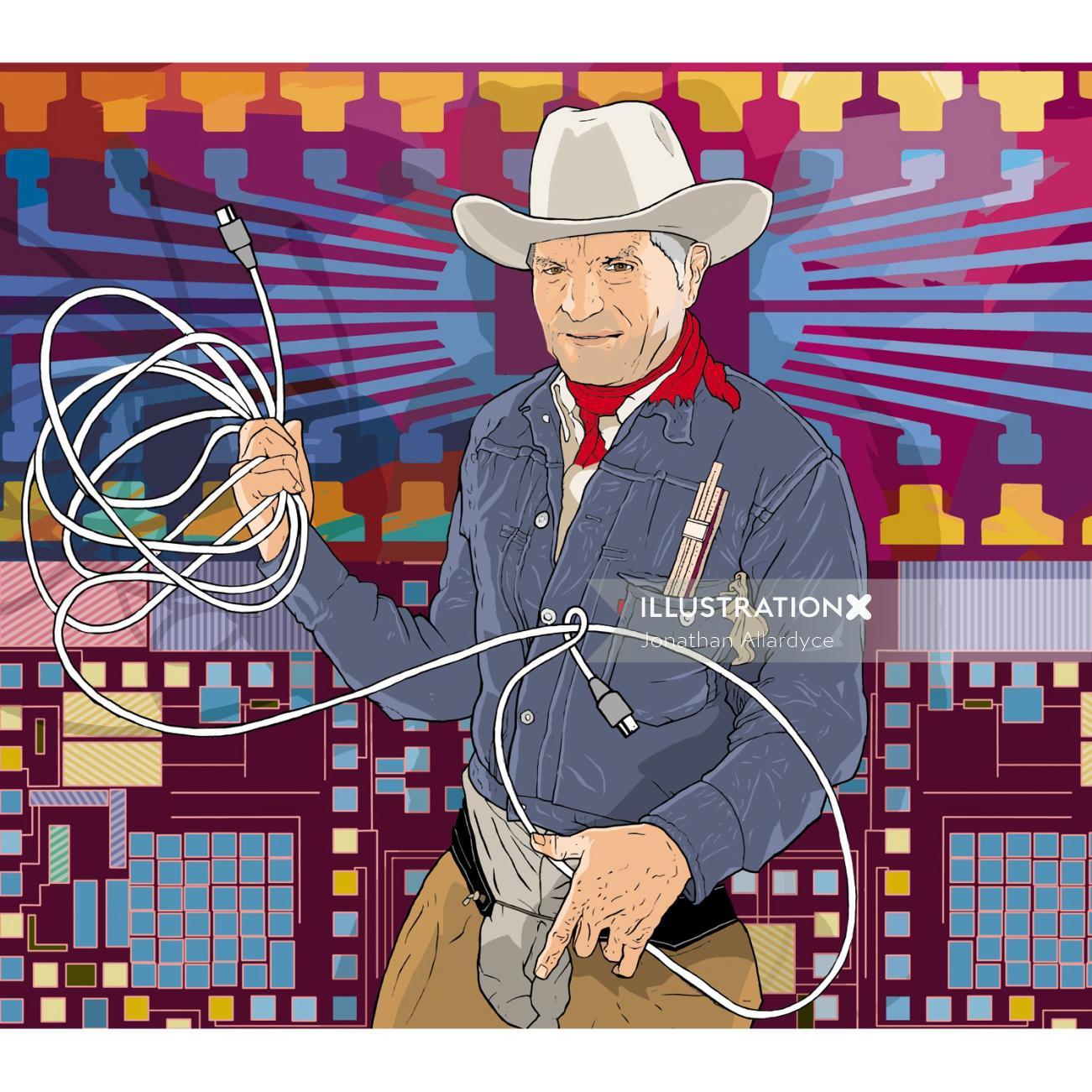 Craig Barrett as cowboy illustration