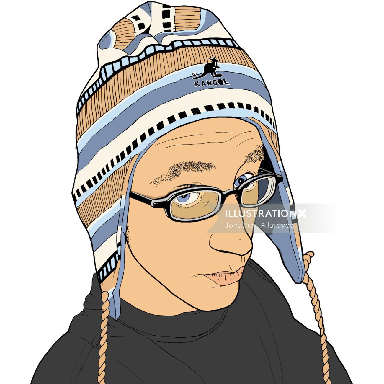 Woolen hat fashion illustration