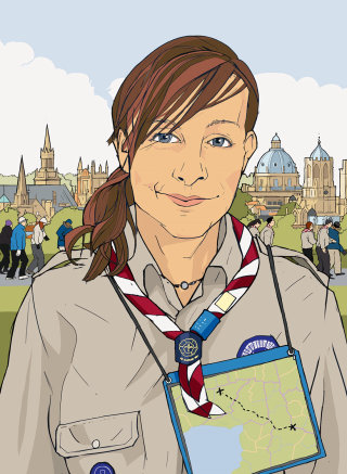 Girl in the scout uniform, Buildings in the background, Teenager with school dress
