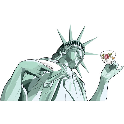 Statue of liberty  holding cup and saucer - Illustration by Jonathan Allardyce