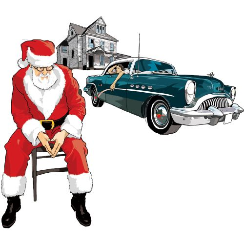 Santa sitting on the road, Car on the street, house in the background
