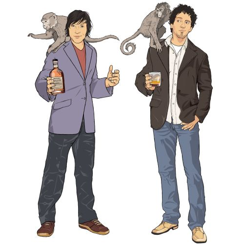 Monkey Shoulder, Boys standing with Wine glass and bottle, Animals on people shoulder