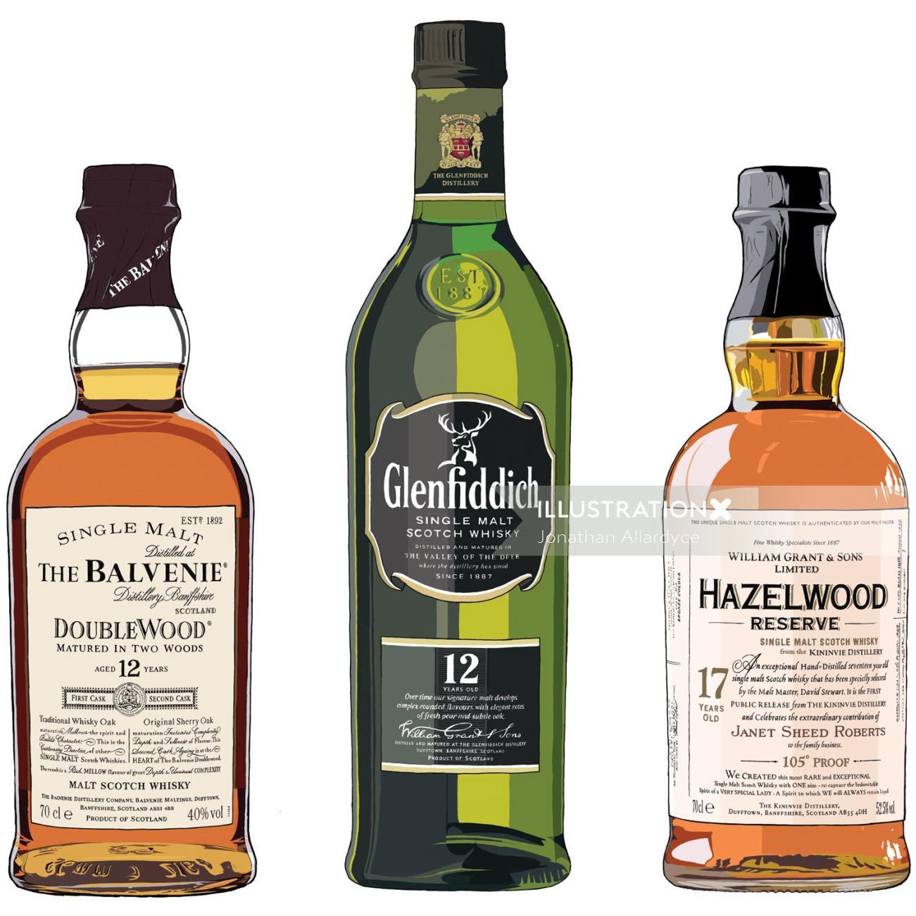 Scotch whisky bottles vector - illustration by Jonathan Allardyce