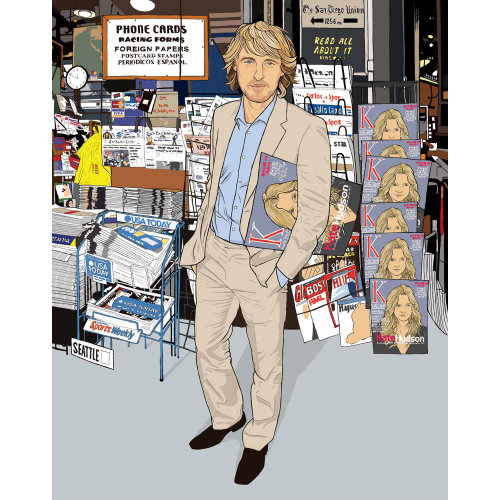 Celebrity Love Doctor: Owen Wilson, Man standing on the street, Book stall