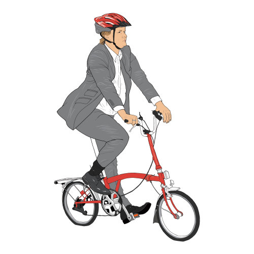 corporate person, man riding small cycle, head gear