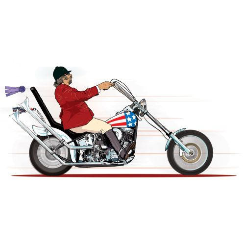 man with big bike, American flag on vehicle, person with red dress