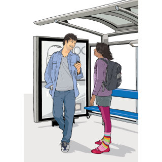Couple in a Bus Shelter, women standing with pink bottoms, man leaning on an Advertising board