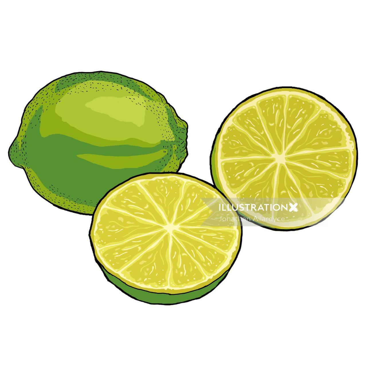 Lemon, Sliced pieces, Fruit