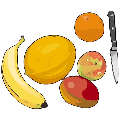 Fruits, Banana, Apple and orange on the table, Knife to slice
