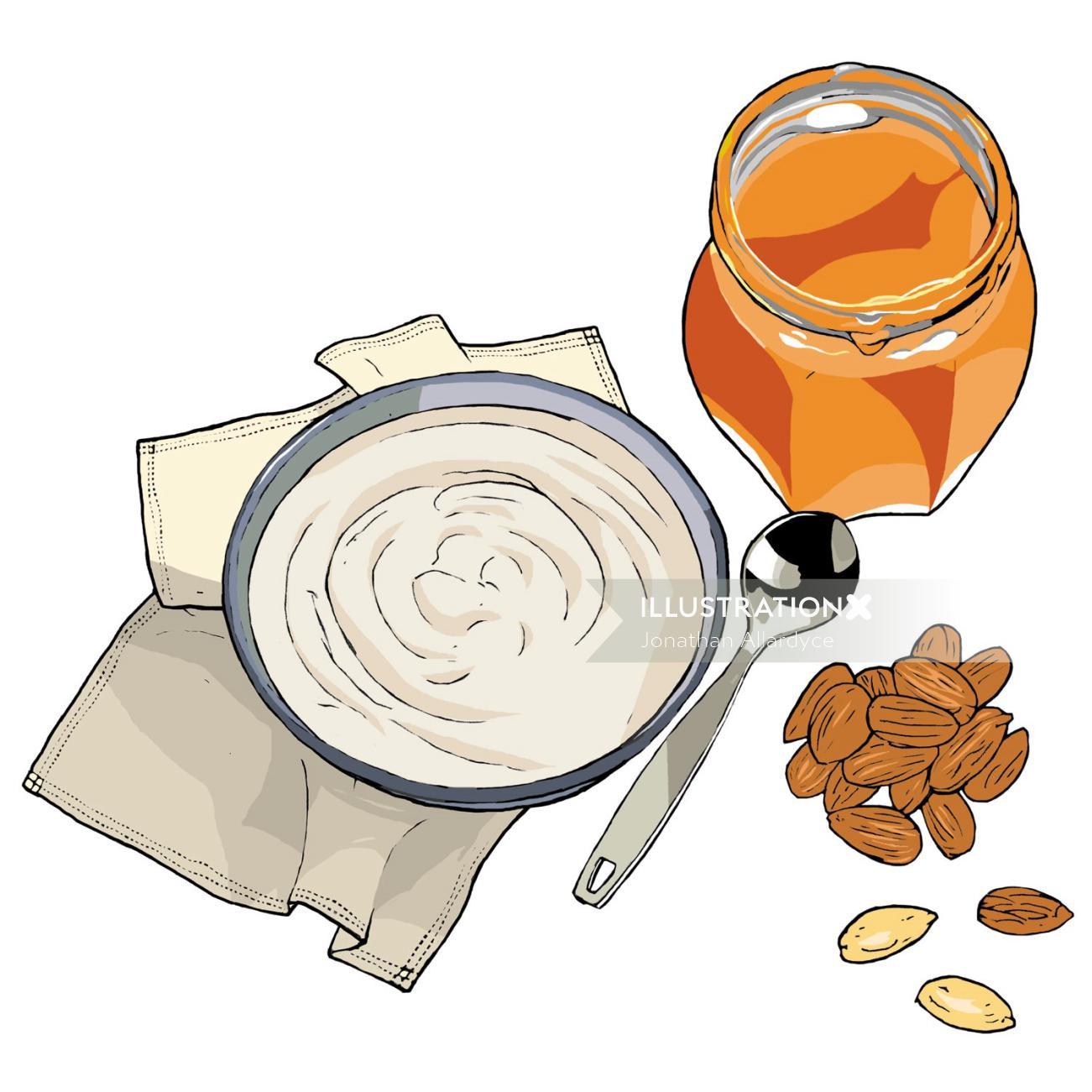 Yoghurt, Honey, Almonds, Health food