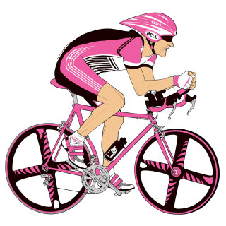 man cycling, Pink bicycle, sport event, colorful wheels
