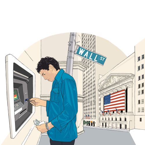 Man at ATM on a street illustration by Jonathan Allardyce
