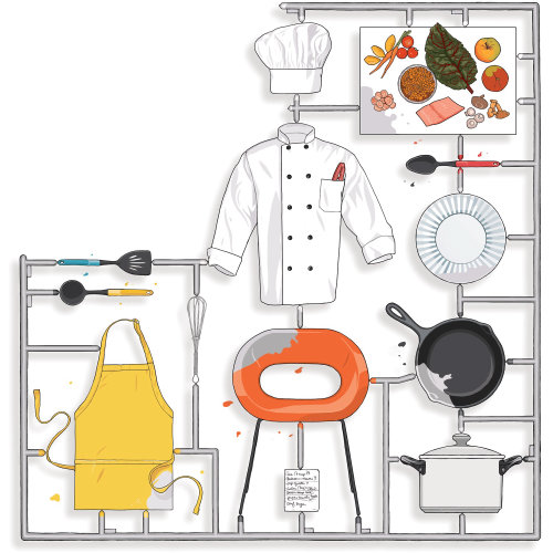 Cheff dress, Kitchen equipment, utensils,