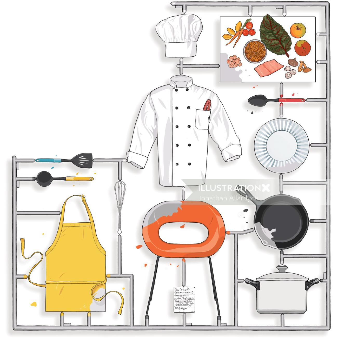 Cheff dress, Kitchen equipment, utensils,