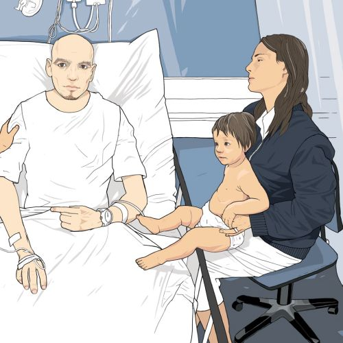 patient in the hospital, family worried medical equipment