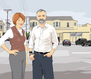Couple standing on road, Man and women in street, Buildings in the background