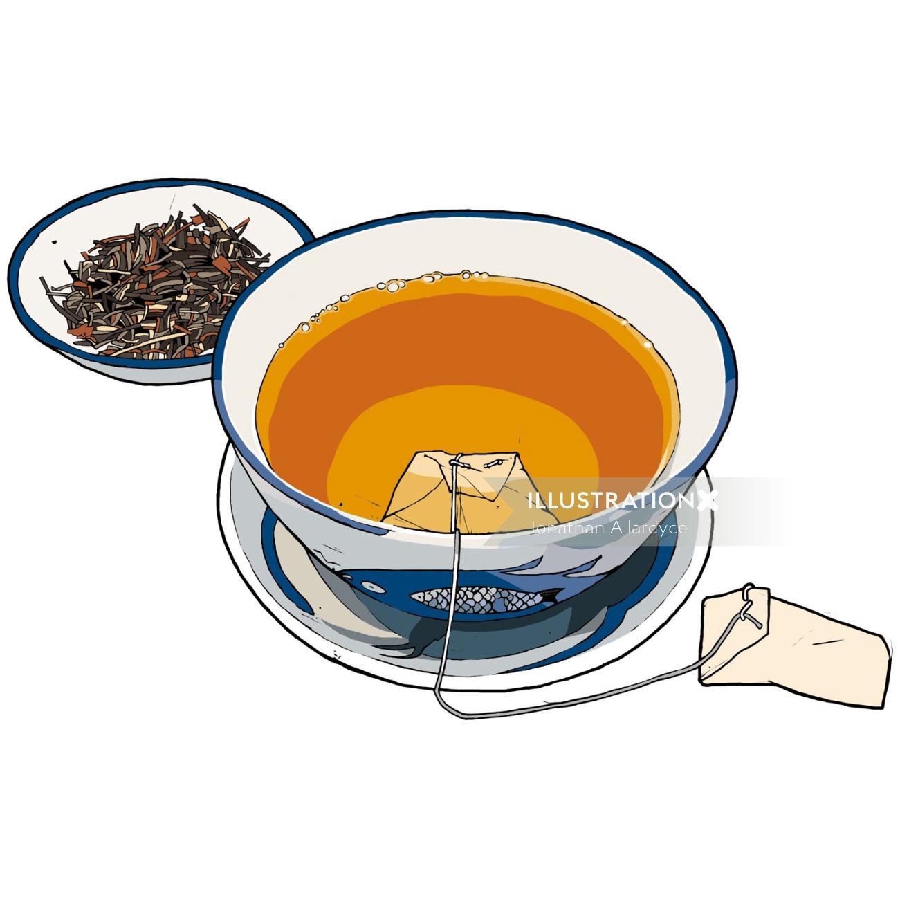 Tea cup illustration by Jonathan Allardyce