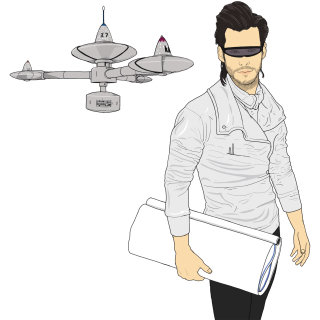 man with black glasses, person with papers in hand, engineering device hanging