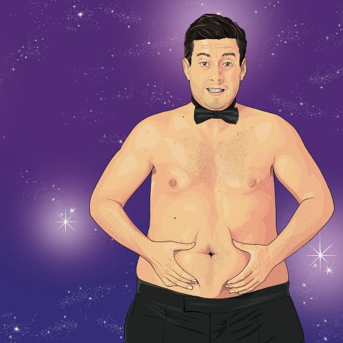 fatty man showing his stomach, person with out shirt, bow tie