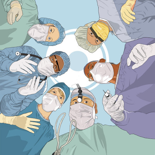 Surgical team working in the operating theatre