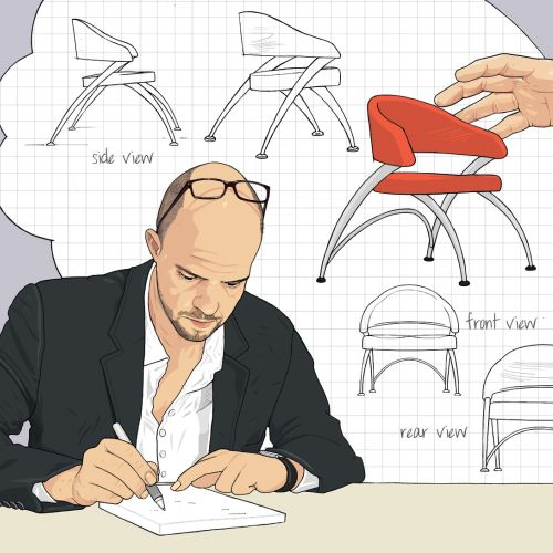 Rip-off chair designs illustration by Jonathan Allardyce