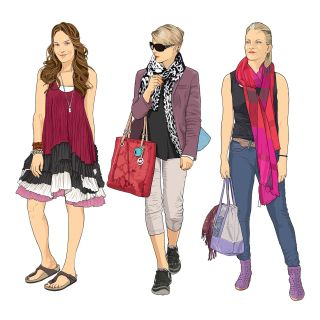 Trendy women shopping - illustration