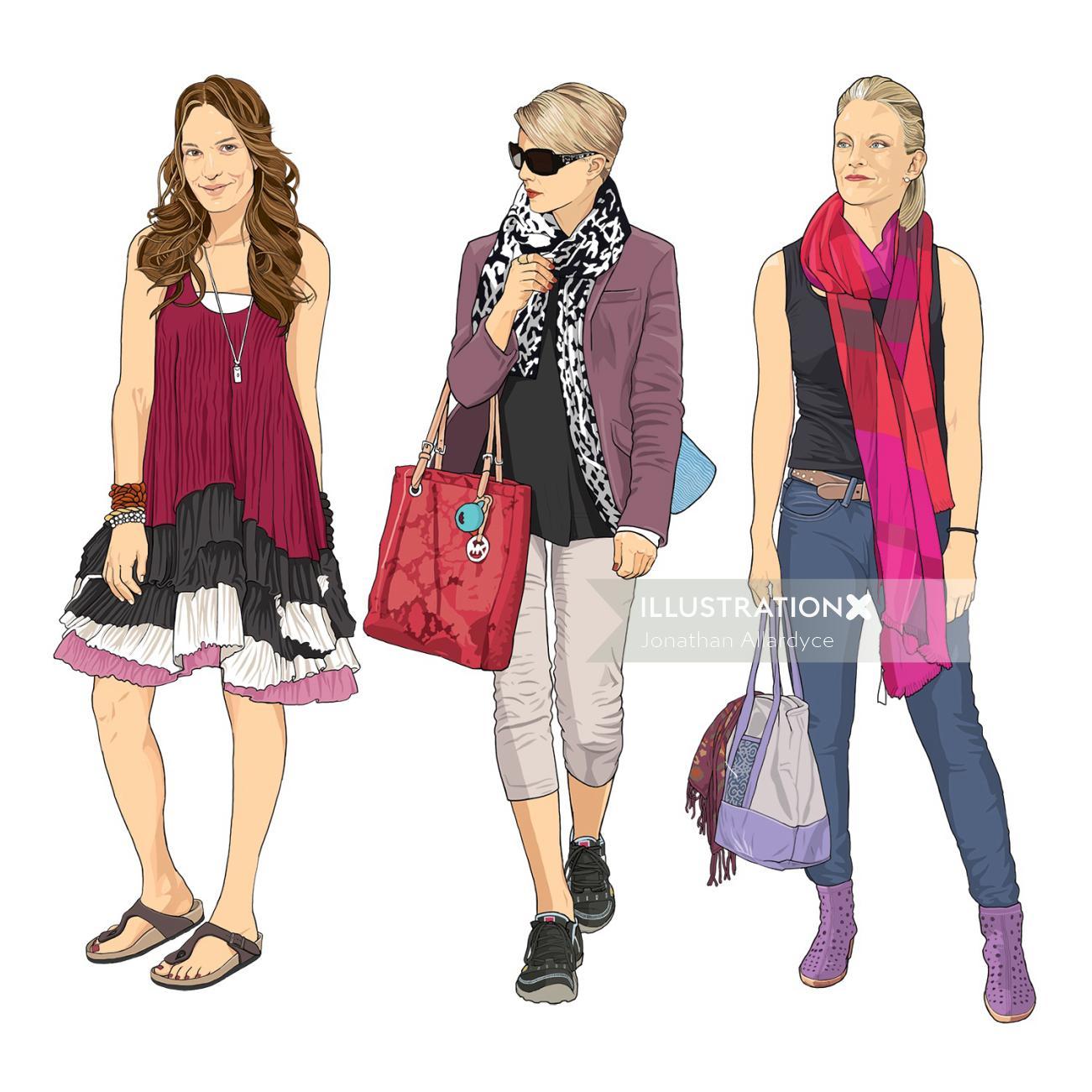 Trendy women wearing footwear