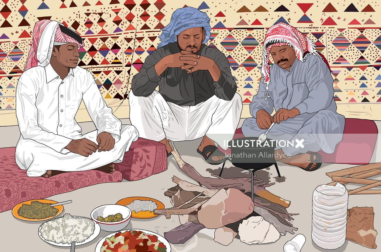 Arabic Kitchen, People cooking food, Man with raw eatables