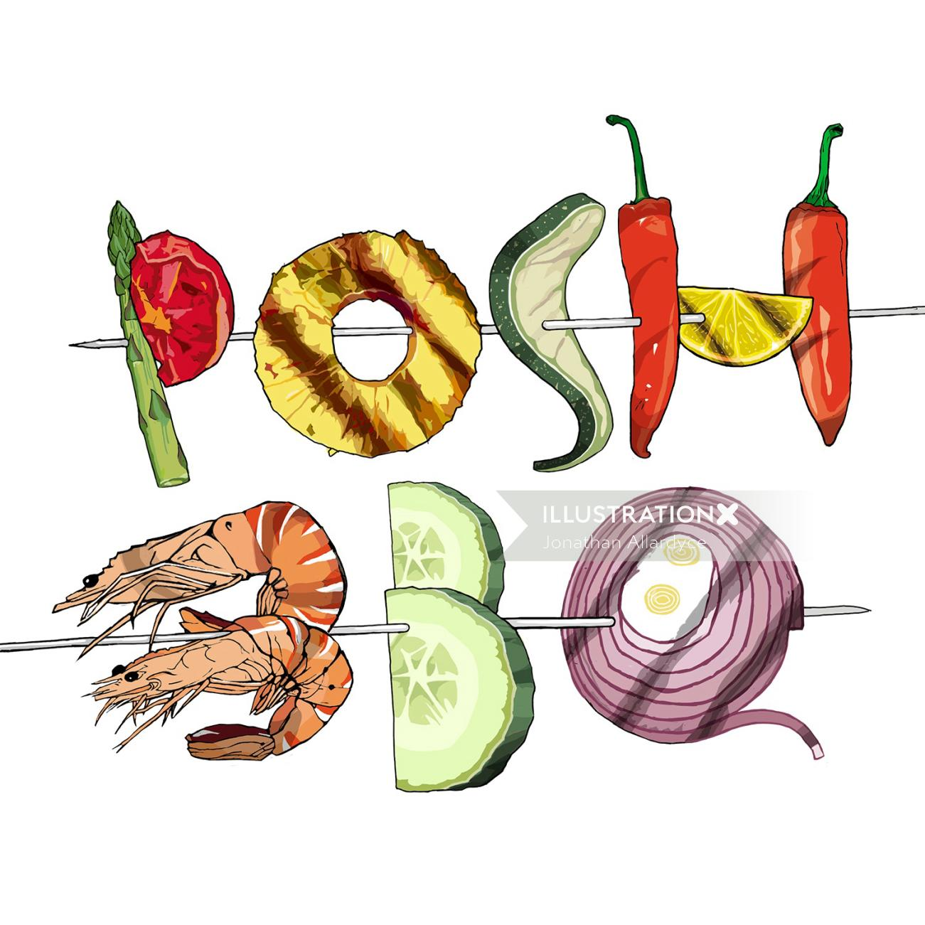 illustration for Stylist's Posh BBQ guide (Summer 2014)