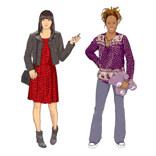 Women dressing illustration by Jonathan Allardyce