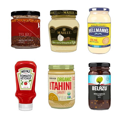 Condiments and marinades illustration by Jonathan Allardyce