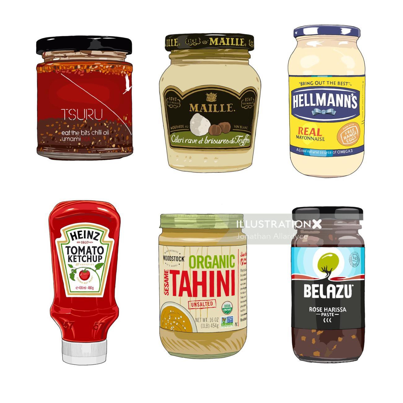 Condiments and marinades illustration by Jonathan Allardyce