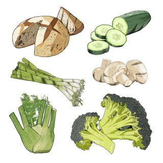 Vegetables and bread illustration by Jonathan Allardyce