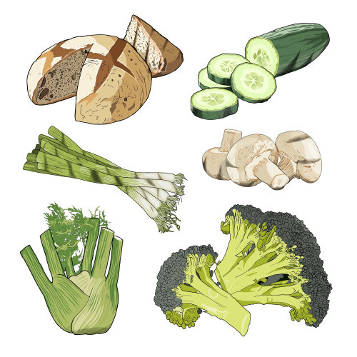 Vegetables and bread illustration by Jonathan Allardyce