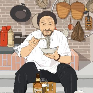 Illustration of Chinese man eating noodles