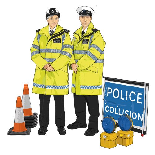 Illustration of traffic police officers
