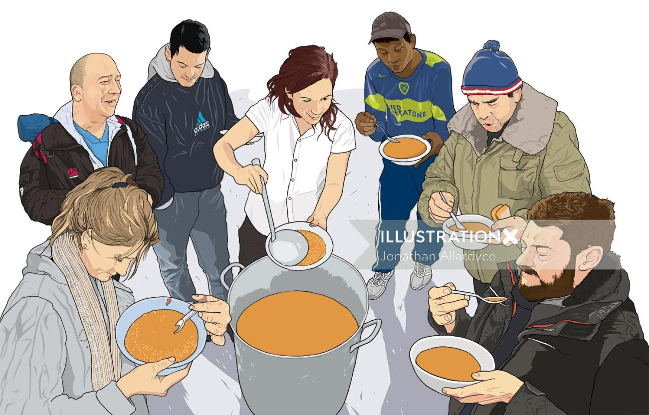 Illustration of mobile soup kitchen for Inside Housing magazine.